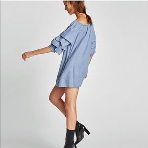 Zara Chambray Off Shoulder Ruffle Sleeve Dress